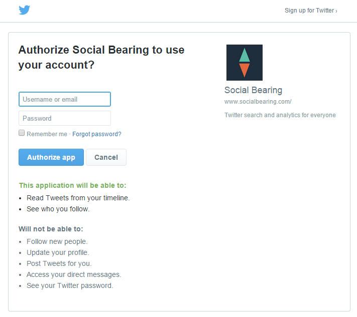 Twitter authentication window
