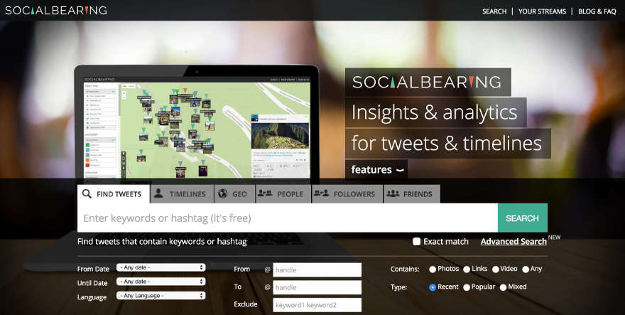 Twitter search using Social Bearing's advanced options